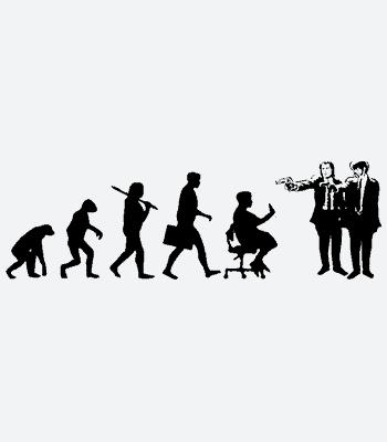 Vtipné triko Pulp Fiction evoluce
