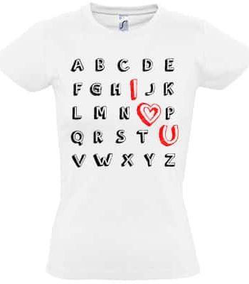 valentýnské tričko abeceda